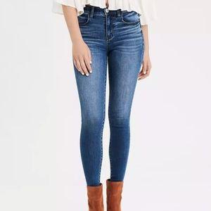 High waist denim blue jegging skinny jeans 2 short